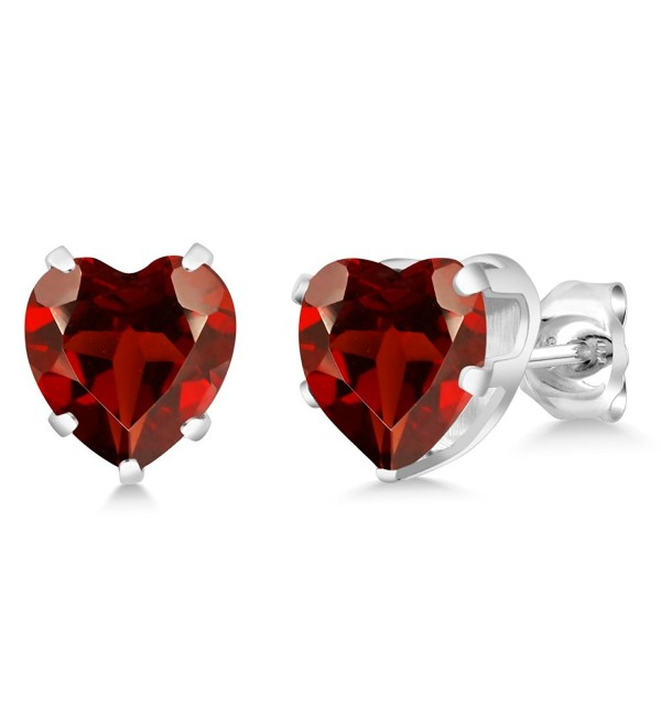 4.00 Ct Heart Shape 8MM Red Garnet 925 Sterling Silver Gemstone Birthstone Stud Earrings - CV11NNNWK1P