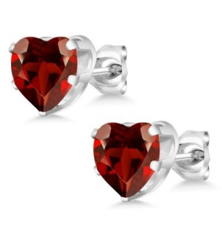 Garnet Sterling Gemstone Birthstone Earrings in Women's Stud Earrings