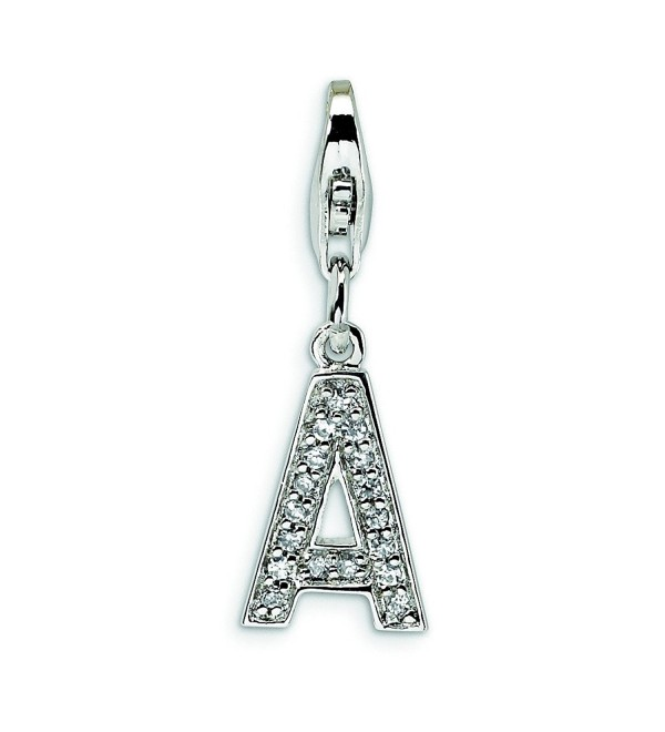 Sterling Silver Cz Letter A W/Lobster Clasp Charm - CP114W6MNS7