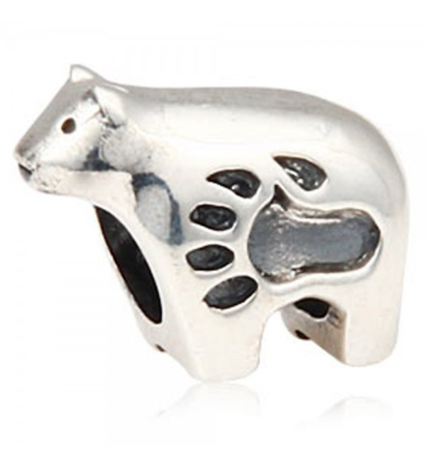 Polar Bear Charm with Paw Print 925 Sterling Silver Animal Bead for Bracelet - CO12MA8ZERR