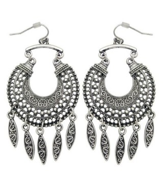 RechicGu Ethnic Retro Bali Jhumka Jhumki Crescent Drops Mexican Gypsy Dangle Earrings - Vintage Silver Tone - C2182XX76GR