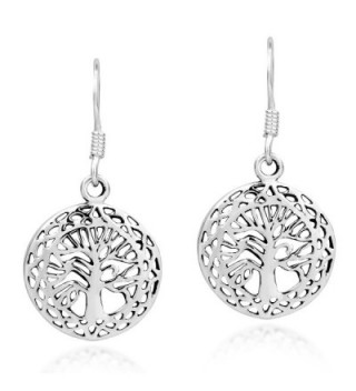 Mystic Celtic Frame Tree of Life .925 Sterling Silver Dangle Earrings - CQ12N76P9AN