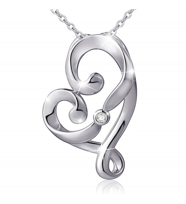 "(Mother and Child's Love) 925 Sterling Silver Infinity Love Knot Pendant Necklace- Rolo Chain 18"" - CM17X6S35UM"