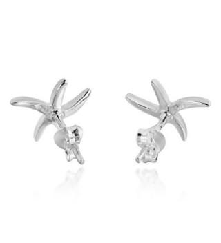 Adorable Starfish Sterling Silver Earrings in Women's Stud Earrings