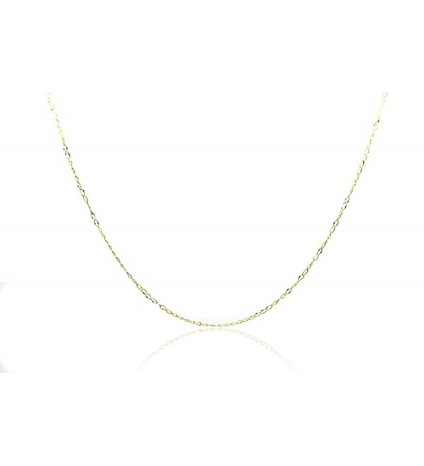 Chelsea Jewelry Basic Collections 2.0mm Wide 18K Gold Ultra Thin Cable Chain Necklace (18 Inches- yellow-gold) - CA123UMWG7B