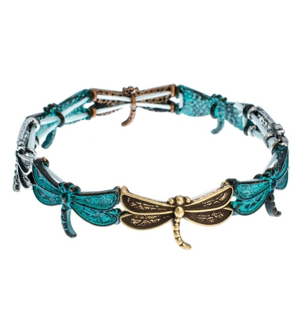 PammyJ Dragonfly Charm with Patina Finish Stretch Bracelet - CZ11YMAZGN1
