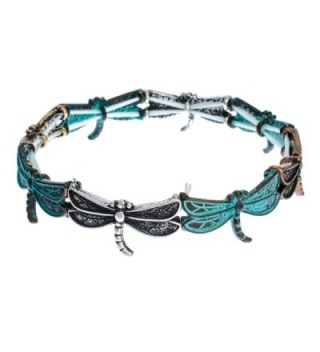 PammyJ Dragonfly Patina Stretch Bracelet