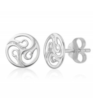 925 Sterling Silver Cut Open Tiny Celtic Knots Symbol Round Circle Post Stud Unisex Earrings 7 mm - CH17YGY097Y