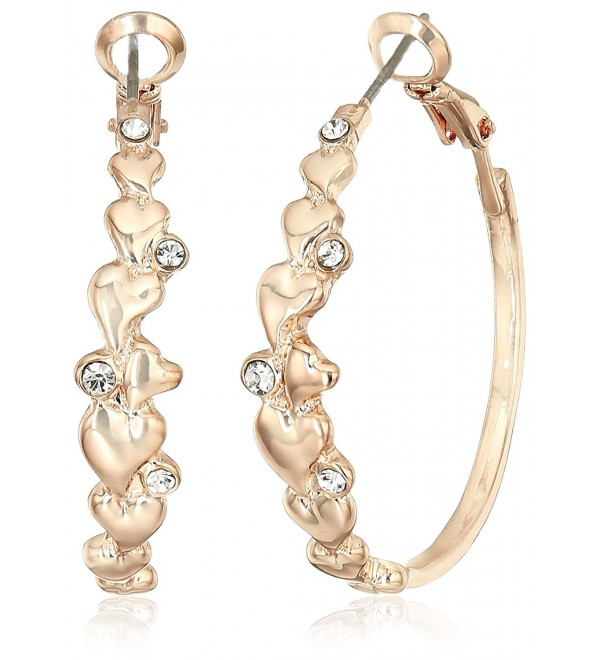 GUESS Womens Heart Detail Clutchless Hoop Earrings - Rose Gold - CY12O64GANN