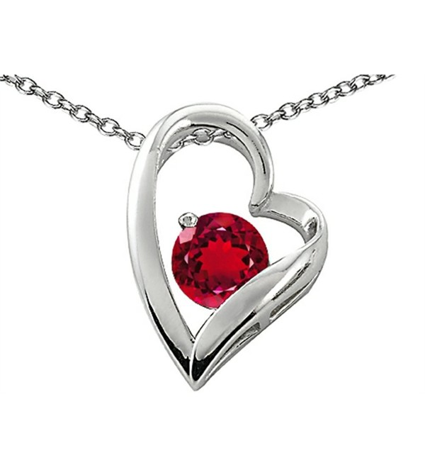 Star K Sterling Silver 7mm Round Heart Shape Pendant - Created Ruby - C711CNZQBY1