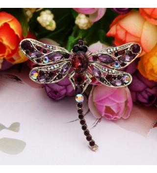 EVER FAITH Gold Tone Rhinestone Dragonfly in Women's Brooches & Pins