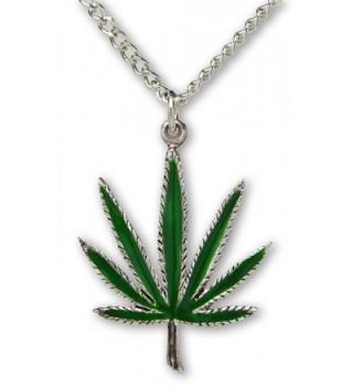 Marijuana Weed Pot Leaf Green Enamel on Silver Finish Pewter Pendant Necklace - CI11HYF91AP