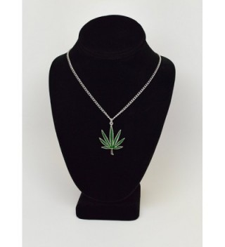 Marijuana Enamel Silver Pendant Necklace