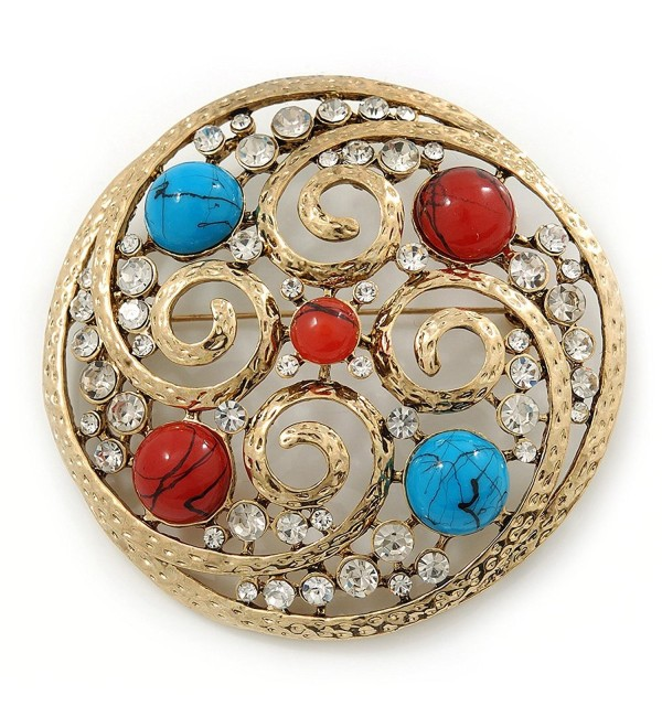 Large Vintage Round Turquoise Stone- Crystal Brooch (Gold Tone) - 67mm Diameter - C2115CWWA3H