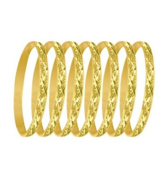 6mm 7 Days Bangles Asterisk & Dots Indian 14K Yellow Gold Plated Sizes 2-7 - CF12N35GP29