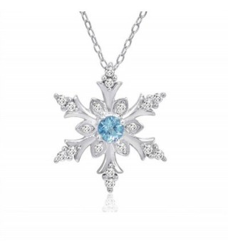 Swiss Blue and White Topaz Snowflake Pendant-Necklace in Sterling Silver - C611Q91KI53