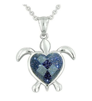 Turtle Heart Powers Amulet Blue Goldstone Faceted Magic Energies Pendant 18 Inch Necklace - CQ11G8WRCCF