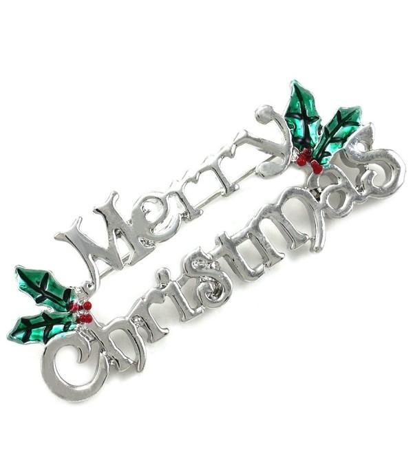 Winter Merry Christmas Pin Present Gift Stuffers Mistletoe Flower Brooch Jewelry - CV11H14B667