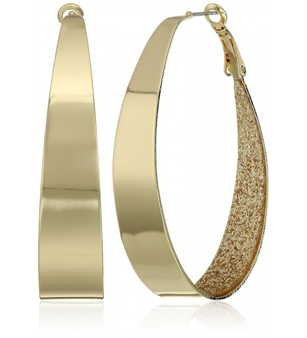 Guess Large Oval Glitter Hoop Earrings - Gold - CR12NDZZMZV