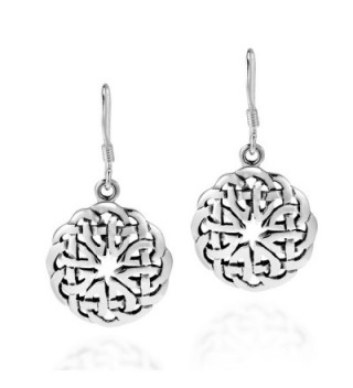 Round Celtic Heart Knot .925 Sterling Silver Dangle Earrings - CS11UEG7L1D