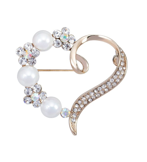 Mother's Presents Gold-tone Crystal Simulated Pearl Flower Love Heart Brooches Bridal Women Brooch Pin - C012BX4EPAN