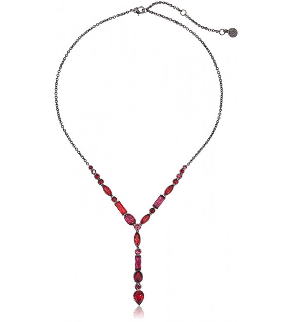 Nicole Miller Cushion Mixed Stone Y-Shaped Necklace - Black Rhodium/ Fuchsia And Ruby - CC12NZXI0ZW