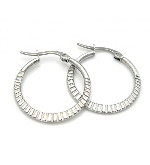 "1"" Stainless Steel Hoop Earrings Cut 160401153333 - C012O46B4UL"