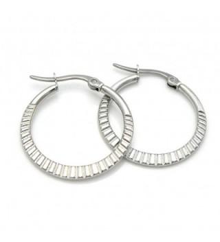 """1"""" Stainless Steel Hoop Earrings Cut 160401153333 - C012O46B4UL"""
