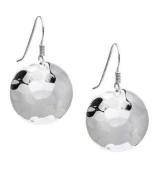 Silverly Women's .925 Sterling Silver Round Hammered 20 mm Disc Dangle Earrings - CI11PH7QOS5