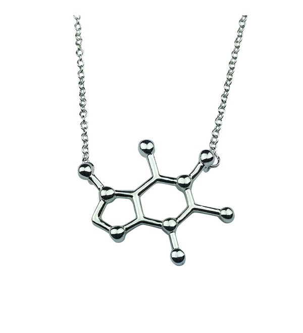 Art Attack Silvertone Caffeine Coffee Tea Energy Drink Molecule DNA Chemistry Science Party Pendant Necklace - CN12HAKDLG3