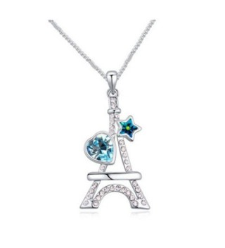 White Gold Plated Eiffel Tower Heart Star Cut AAA Swarovski Elements Sea Blue Austrian Crystal Pendant Necklace - CQ120IZORFH