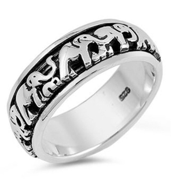 Sterling Silver Lucky Elephants Spinner Ring ( Size 4 to 14) - CD12H5HT49F