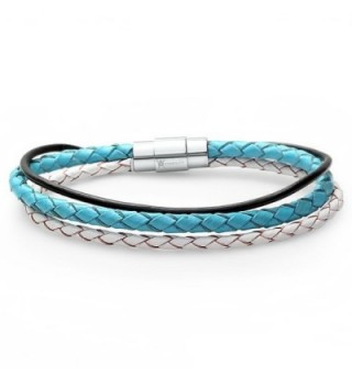 Braided Triple Strand Leather Bracelet with Stainless Steel Magnetic Locking Clasp 7 1/2 inch - C711901ZJ35