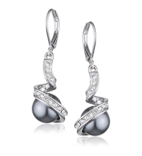 Yoursfs Lmitation Pearls Crystal Rhinestone Dangles Bridal Earrings for Women - Gray pearls - CO18C8H87G7