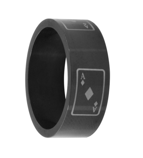8MM Stainless Steel Black Anodized Card Ace Wedding Band (Size 8 to 13) - CH11BC4DLAF