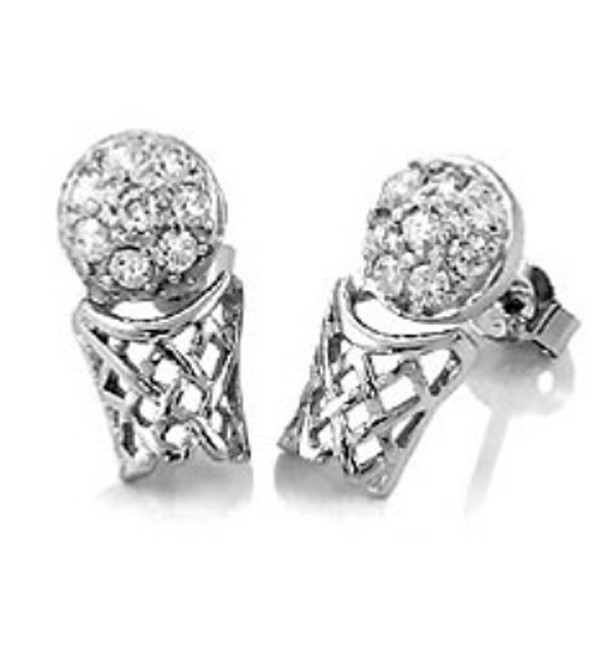 Sterling Silver BASKETBALL CZ Stud Earrings - CK11FQMX7EF