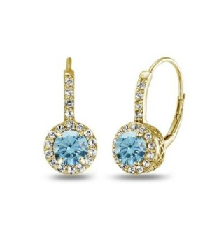 Sterling Leverback Earrings Swarovski Crystals - March - Light Blue - CU185TUCHSA