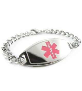 MyIDDr - Pre-Engraved & Customized Breast Cancer Medical Alert Bracelet- Pink - CX119I5AX4R