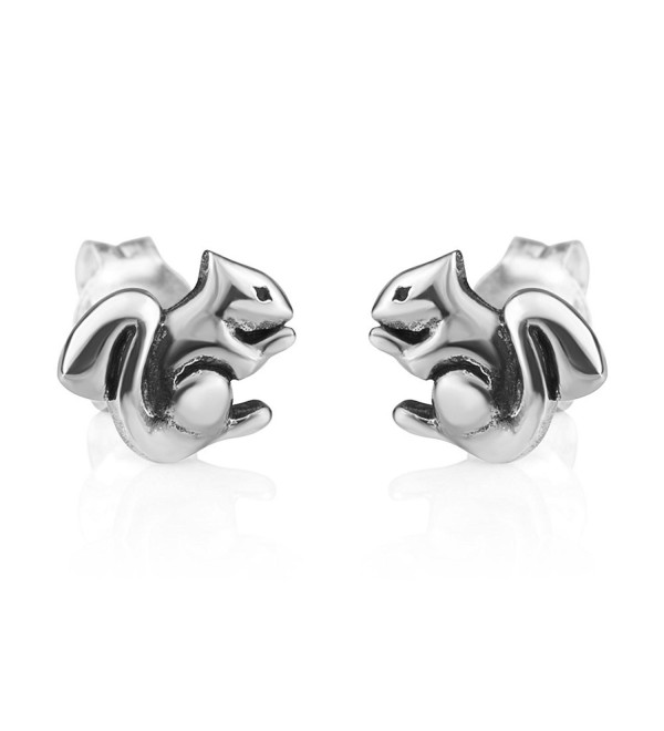 Chuvora Jewelry 925 Oxidized Sterling Silver Tiny Little Squirrel Chipmunk Post Stud Earrings 9 mm - CW12NZHL6V3