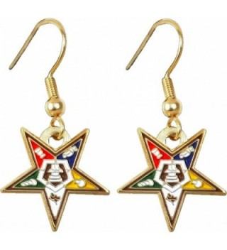 "Eastern Star Symbol Cut-Out Ladies Earrings [Gold - 5/8""] - CN11O7FHV17"
