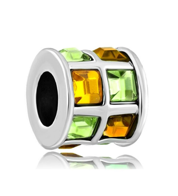 LovelyJewelry Topaz Yellow Green Swarovski Elements Crystal Tiles Drum Bead Bracelet - C611TC1FZXH