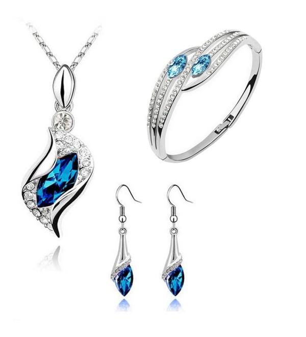 Fashion Style Jewelry Set Crystal Chic Eyes Drop Earrings Necklace Bracelet DIY - CV12O0L6WB3