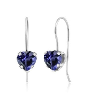 1.16 Ct Heart Shape Blue Iolite Sterling Silver 5-prong Dangle Earrings 6mm - CA118J07BVV