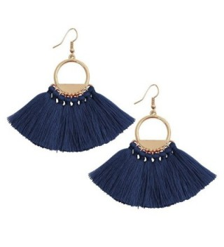 Women's Girls Elegant Jewelry Bohemia Tassels Dangle Stud Earrings Eardrop Red Black - Blue Tassels - C4185RN4C97