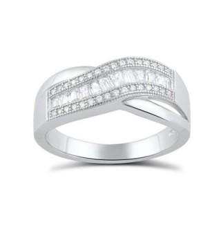 Sterling Silver Baguette Cz Wave Statement Ring (Size 4 - 9) - CG12CVNZMM1