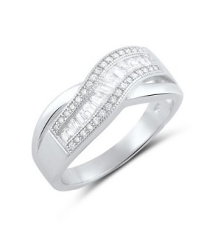 Sterling Silver Baguette Wave Statement in Women's Statement Rings