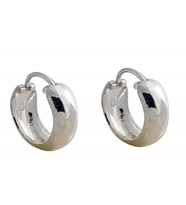 925 SOLID STERLING SILVER ROUND GLOSSY HOOPS - CR12O3PDVC6