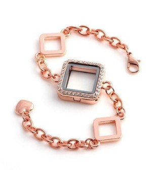 Bling Stars Glass Square Shape Rhinestone Floating Charm Living Memory Lockets Bracelet Set - Rose Golden - CI12EG7T6LX