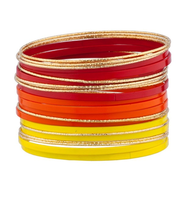 Lux Accessories Red Orange Yellow Goldtone Enamel Multi Bangle Bracelet Bracelet Set - CX125BQXSR1