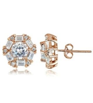 Hoops & Loops Sterling Silver 4.38ct Cubic Zicronia Baguette-Cut Flower Stud Earring - CG12I6T3K2N